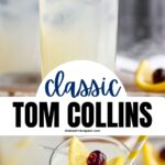 glass of tom collins with ice, lemon and cherry