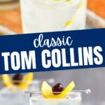 glass of tom collins drink with ice, straw, lemon, and cherry