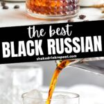 Two glasses of Black Russian with ice, surrounded by coffee beans