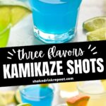 three flavors kamikaze shots in glasses with lime and orange wedge