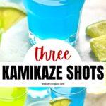 shot glasses of kamikaze shots with orange and lime wedges