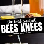 two glasses of bees knees cocktail with lemon twist and honey syrup