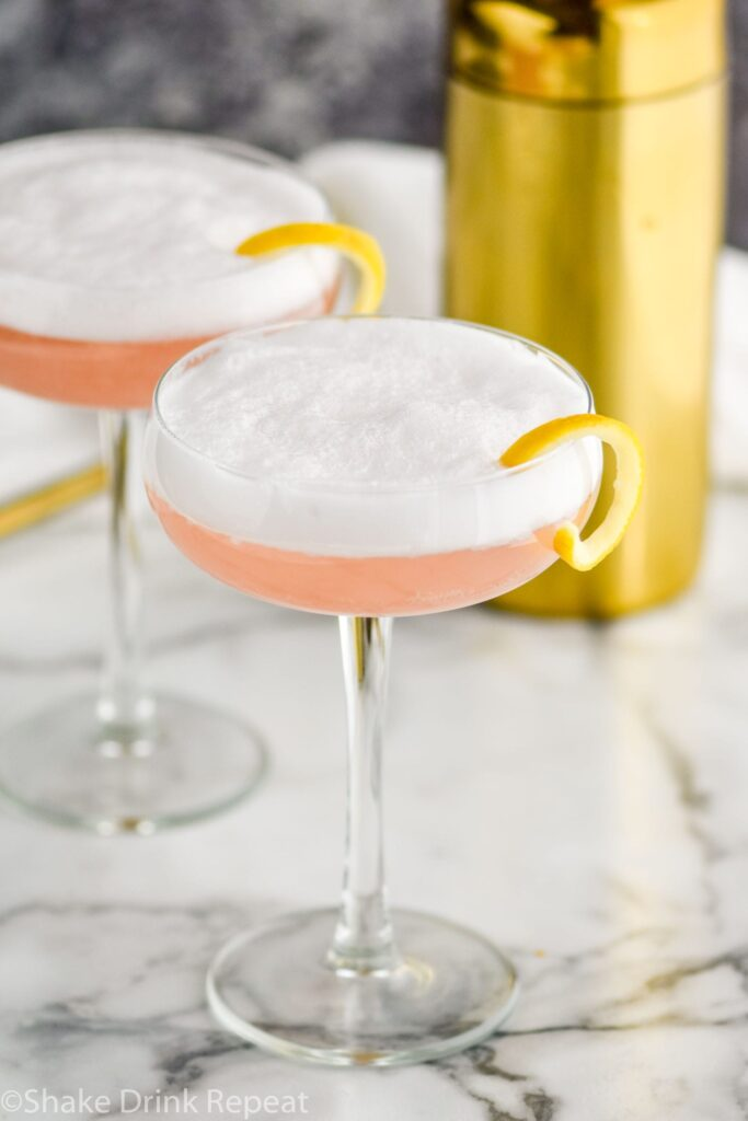 two glasses of cranberry gin fizz with lemon twist and shaker