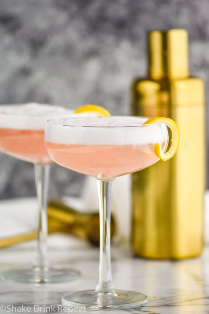 two glasses of cranberry gin fizz with lemon twist and shaker in background