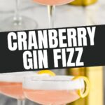 two glasses of gin fizz with lemon twist and shaker
