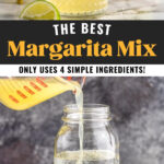 glasses of homemade margarita mix with salted rims and fresh lemons and limes