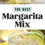 two salt rimmed glasses of margaritas with homemade margarita mix with lemons and limes