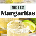 two glasses of margarita with salted rim, ice, and lime