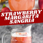 glass and pitcher of strawberry margarita sangria with sugared rim