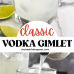 glass of vodka gimlet cocktail recipe with ice and limes