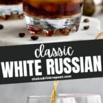 two glasses of white russian cocktail with ice surrounded by coffee beans