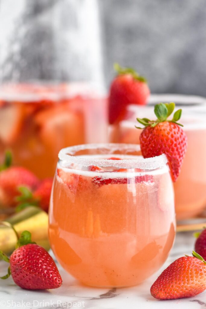 glass of strawberry margarita Sangria with sugar coated rim