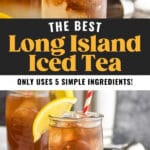 two glasses of long island iced tea with cola, straw, and lemon