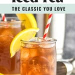 two glasses of long island iced tea with ice, straw, and lemon