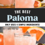 two glasses of paloma cocktail with crushed ice and grapefruit garnish