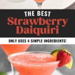glass of strawberry daiquiri with fresh lime and strawberry garnish