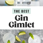 glasses of gin gimlet cocktail with ice and lime
