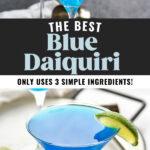 martini glasses of blue daiquiri with fresh lime wedge