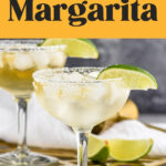 two glasses of Cadillac Margarita with ice, salted rim, and lime wedge garnish