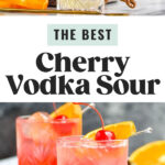 two glasses of cherry vodka sour with orange slice and cherry garnish