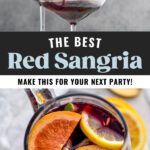 pitcher and two glasses of red sangria with slices of fresh fruit including lemons, limes, and oranges