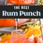 Glass dispenser of rum punch with fresh fruit slices