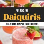 glasses of virgin strawberry daiquiri with fresh strawberry and lime wedge garnish