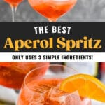glasses of Aperol Spritz with ice and fresh orange slice garnish with bottle of sparkling wine pouring into glass