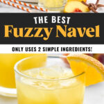 pitcher of orange juice pouring into a glass of Fuzzy Navel recipe with ice surrounded by fresh peaches and two straws