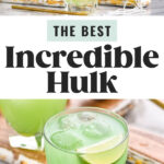 jigger of Hpnotiq pouring into glass of Cognac and ice to make an Incredible Hulk cocktail