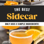shaker pouring Sidecar ingredients into a glass with sugared rim and orange slice garnish