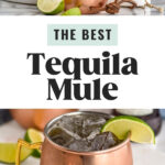 copper mugs of tequila mule ingredients with ice and fresh lime wedges