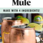 two copper mugs of tequila mules with ice and fresh lime wedges