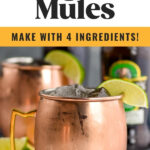 two copper mugs of Tequila Mules with ice and lime slices
