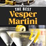 man pouring shaker of Vesper Martini into a glass. Two glasses of Vesper Martini with lemon twist