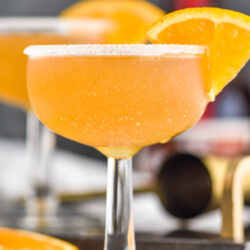 glass of Sidecar cocktail with sugared rim and orange slice