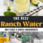 Making Ranch Water cocktails with jigger of tequila and mineral water pouring into a glass with ice. Fresh lime wedge garnish.