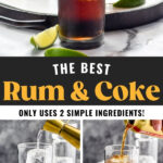 glasses of rum and coke ingredients showing how to make a rum and coke with ice and slices of lime