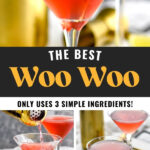 glasses of Woo Woo surrounded by slices of lime, jigger, and cocktail shaker