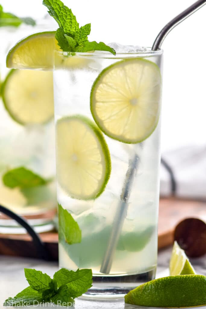 two glasses of Mojito with ice, straw, fresh mint leaves, and lime wedges
