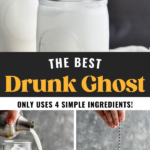 making Drunk Ghost recipe with two glasses, ingredients, straws and garnished with a Ghost Peep